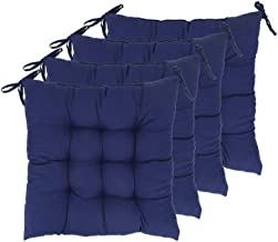 "ELFJOY Set of 4 Solid Square 16"" x 16"" Tufted Chair Pads Indoor Seat Cushions Pillows with Ties (Navy) ..."