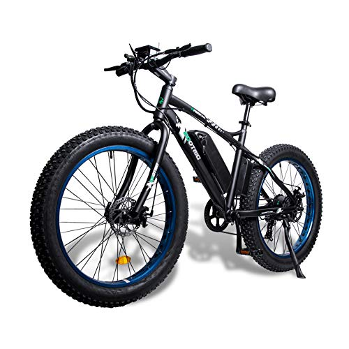 ECOTRIC Fat Tire Electric Bike Beach Snow Bicycle 26' 4.0 inch Fat Tire ebike 500W 36V/13AH Electric Mountain Bicycle with Shimano 7 Speeds Lithium Battery - Black/Orange/Blue