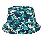 RUEMAT Sombrero Pescador Unisex,Patrón Flores Hojas Textura Transparente,Plegable Sombrero de Pesca Aire Libre Sombrero Bucket Hat para Excursionismo Cámping De Viaje Pescar