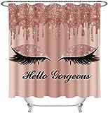 SDDSER Hello Gorgeous Duschvorhang-Sets, Einhorn-Wimpern, pink-goldene Tropfen (kein Glitzer) Badezimmer-Gardinen, 183 x 198 cm, mit 12 kostenlosen Haken, YLLSSD2298