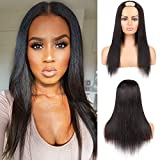 U Part Wig Human Hair Machine Made Wigs for Black Women Straight Human Hair Wigs 100% Brazilian Glueless Full Head U-part Hair Extension Clip in Half Wig (16 inch)