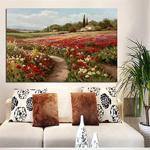 wZUN Loto árbol de álamo Campo de Amapolas impresionismo Pintura al óleo Lienzo Carteles e Impresiones Sala de Estar Mural imágenes 60x80 Sin Marco