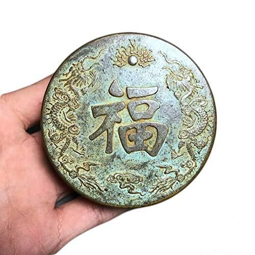 LAOJUNLU Cartucho de Tinta de latón Antiguo Cartucho de Tinta en Relieve Doble Dragon Play Ball Fu Personajes Caja de Cobre de Bronce Joyas de Estilo Tradicional Chino