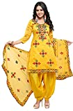Color Name: Yellow Material: Cotton Dry clean only Evening wear Number of items: 1 Fabric Measurement:-top- 2.20 mtr | Bottom-2.30 mtr | Dupatta-2.30 mtr. | inner-1.70 mtr Style: rajasthani style phulkari embroidery Chanderi dress material Occasion: ...