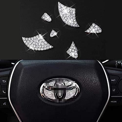 Bling Bling Car Steering Wheel Decorative Diamond Sticker Fit for Toyota,DIY Bling Car Steering Wheel Emblem Bling Interior Accessories for Women