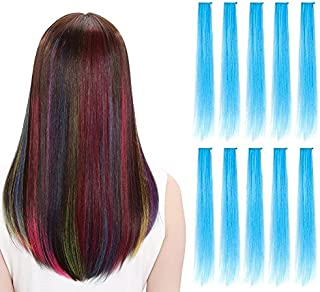 LiaSun 10Pcs/set Multi-Colors Straight Highlight Clip in Hair Extensions 20 Inch Colored Party Hair Pieces (Sky blue)