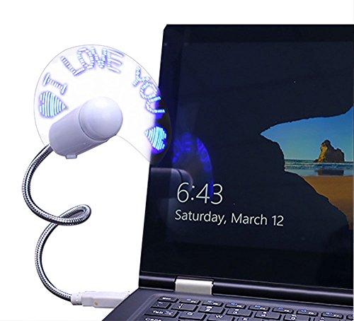 Demarkt USB programable Fan Mini USB LED Fan Message Fan con cuello flexible Message programable RGB LED Display de función de recordatorio para PC Ordenador Portátil azul azul 30