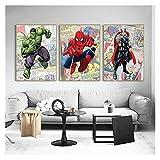 CCZWVH Marvel Avengers Superheroes Lienzo Pintura Comics Arte de la Pared Fotos para niños Decoración de la habitación Cuadros 16x24x3 Inch Sin Marco