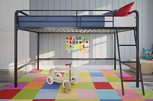 DHP Junior Loft Bed Frame with Ladder, Multifunctional Space-Saving Design, Black