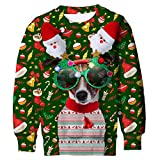 Funnycokid Teenagers Girls Jumper Sweatshirt 3D Printed Graphic Dogs Fleece Sweater Funny Boys Ugly Sweater Christmas Tops Green