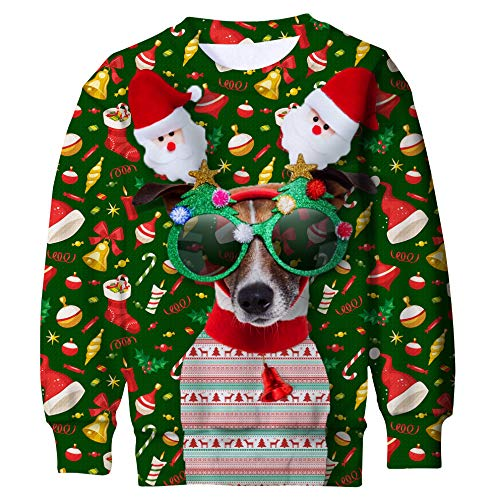 Funnycokid Boys Girls Graphic Christmas Sweatshirt 3D Print Candy Dog Kids Ugly Fleece Jumper Pullover Sweater Green