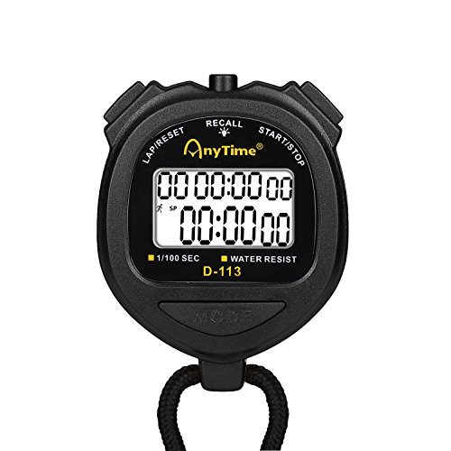 Flexzion Digital Stopwatch Timer Clock Countdown Stop Watch Water-Resist w/Large Display Professional Handheld Chronograph Timepiece for Sports Swimming Running Track & Field Classroom Coach (Black)