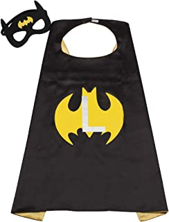 Initial Letter of Name Superhero Cape for Kids,Black & Yellow Reversible Cape