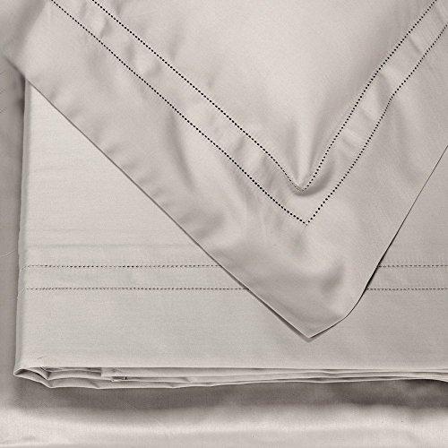Fazzini Prezioso Completo di Lenzuola matrimoniali Puro Raso di Cotone 300TC con Doppio Orlo a Giorno Art. Orfeo (Grigio 7)