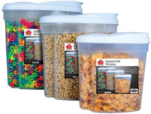 Imperial MW1196 Plastic 3 Piece Cereal Dispenser Set - Dry...