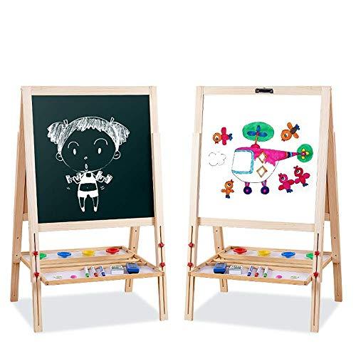 xcxc Kinder Staffelei Holz Staffelei für Kinder Doppelseitige Höhe Verstellbarer Ständer Magnetische Tafel Whiteboard für Kinder Lernspielzeug (Farbe: Grün, Größe: Einheitsgröße)