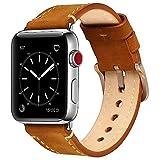 Apple Watch Band, iWatch Band Premium Echt Leder Vintage Ersatz Armband mit Sicher Metall Verschluss...