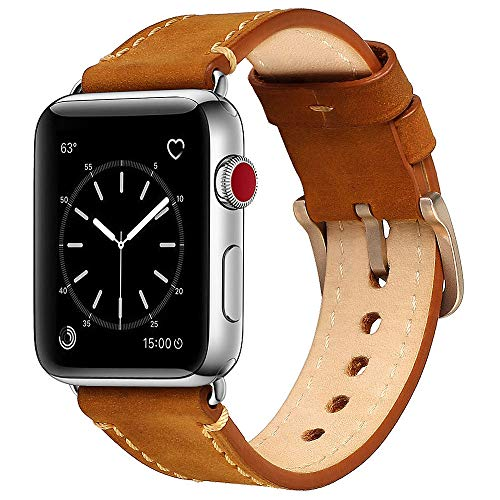 Mkeke Compatible Apple Watch Band 42mm Mkeke Genuine Leather iWatch Bands Vintage Brown