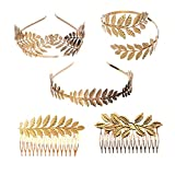NUOBESTY Bracciale Corona Foglie Alloro Golden Leaves Tiara Head Hair Hair Comb Costume