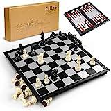 Gibot Échiquier magnétique, jeu de dames et backgammon 31,5 x 31,5 cm