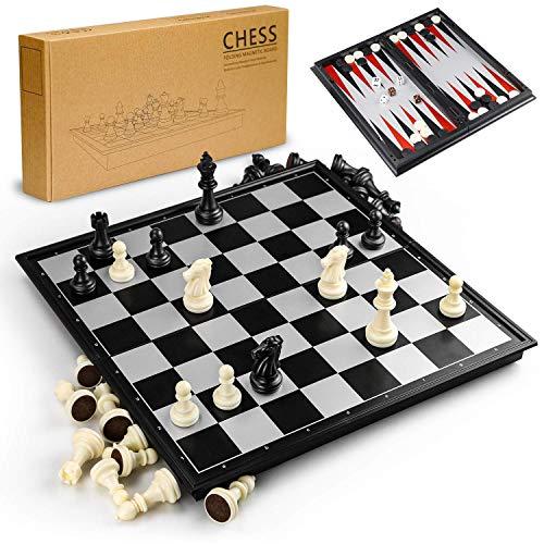Gibot 3 en 1 Tablero de ajedrez,31.5CM x 31.5CM Tablero de A