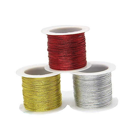 lasenersm 3 Rolls 196.8 Ft Tinsel String Craft Making Cord Non Stretch Jewelry Making Gift Wrap Ribbon Metallic Cord Packaging Rope (65.6 Ft per roll)