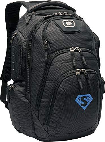 Monogrammed Me Surge RSS Pack, Black, with Glitter SuperHero Monogram S
