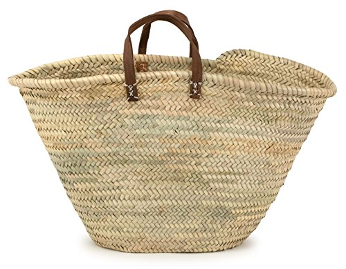 Moroccan Straw Market Bag w/Brown Leather Strip Handles, 25'Lx15'H - Ibiza