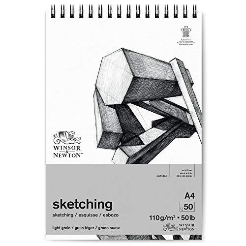 Winsor & Newton 6672002 Skizzenpapier, Extra Weiß, A4-50 Blatt Spiralblock