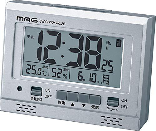 MAG(マグ) 目覚まし時計 電波 デジタル エアサーチグッドライト 環境目安 温度 湿度 カレンダー表示 シルバ...