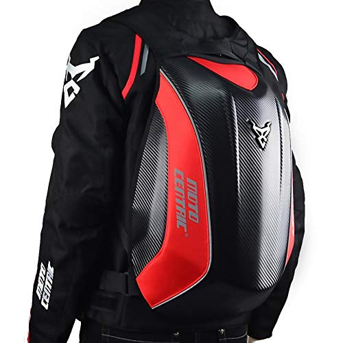 HEIRAO Motorcycle Backpack Waterproof Tank Bags Hard Shell Air Flow Track Riding No Drag Back Pack - Carbon Fiber Motorcycle Turtle Bag for Traveling Camping Cycling Luggage Shoulder Seat Tail Pack