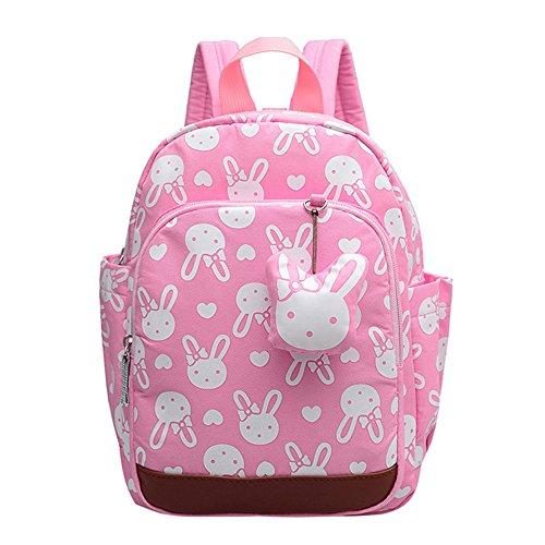 MCUILEE Niedlich Tier Hase Baby Rucksack Kinderrucksack Kleinkind Mädchen Kindergartenrucksack Backpack mit Sicherheit Geschirre Zügel,Rosa