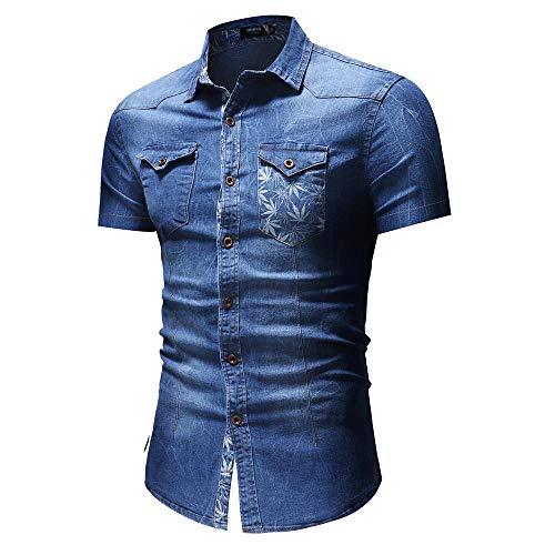 RelaxLife Herren Kurzarm Kurzärmliges Jeanshemd Herren Jeanshemd Mit Blattdruck Männliche Freizeitbluse Herrenbekleidung Slim Fit Blau Schwarz