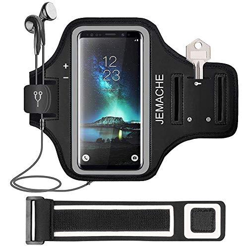 Galaxy S10 S9 S8 Fascia Da Braccio Portacellulare, JEMACHE Palestra Esercizi Porta Telefono Cellulare da Corsa per Samsung Galaxy S10/S9/S8/S7 Edge (Nero)