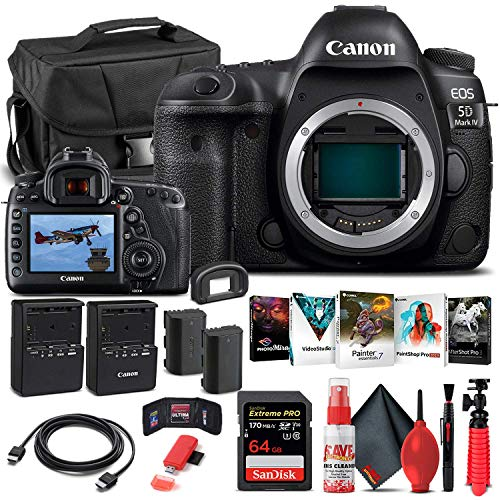 Canon EOS 5D Mark IV DSLR Camera (Body Only) (1483C002) + 64GB Memory Card + Case + Corel Photo Software + LPE6 Battery...