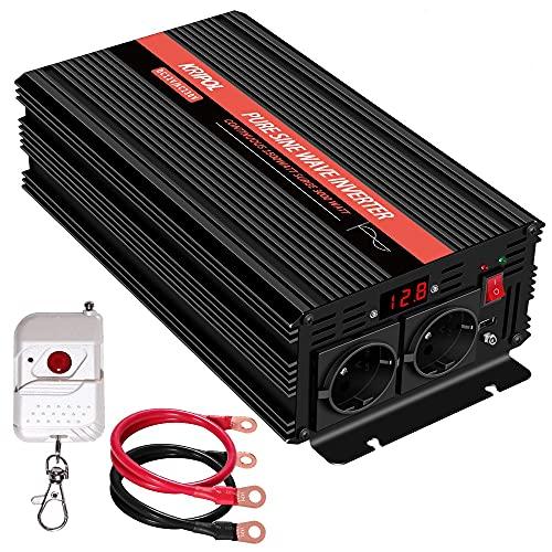 KRIPOL Inverter Onda sinusoidale Pura 1500 Watt 12V DC a 220/230V AC Inverter di Potenza per Auto con 2 Prese CA 1 USB 2.1AH -Telecomando Senza Fili e Display a LED - Potenza di Picco 3000 Watt