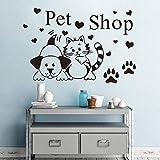 LING YUN Co,Ltd Pet Shop Dog Cat Hearts Wall Vinylart Sticker Calcomanía para La Decoración De La Tienda De Mascotas Extraíble 57X84Cm