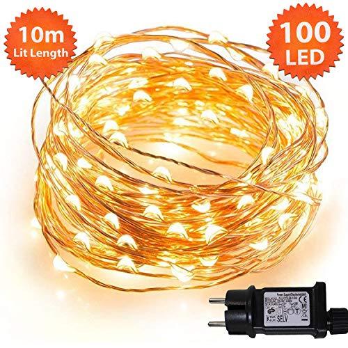 ANSIO Weihnachtsbeleuchtung Lichterketten 100 Micro LED Warmweiße Weihnachtliche Innen. Netzstrombetrieben LED feenhafte Lichter Ideal für Weihnachtsbaum Dekorationen LED Schnur Lichter - Kupferkabel