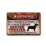 KODY HYDE Metall Poster - Warning Boston Terrier - Vintage