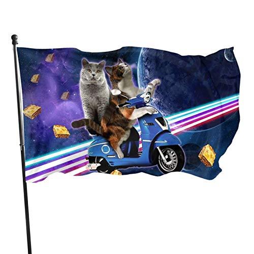 Bandera de jardín Patio al aire libre con ojales de latón Cat Riding Scooter viaje con espacio Lazer Galaxy Fly Bandera Decoración interior del hogar