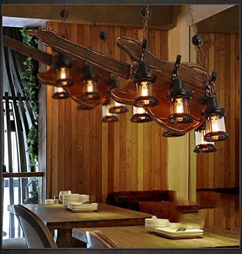 HYY-YY Lámparas colgantes de madera colgante retro estilo industrial colgante luz restaurante araña guitarra lámparas madera