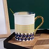 HRDZ Tazza per Uso Domestico Semplice Tazza in Ceramica con Coperchio Cucchiaio Coppia Creativa Tazza d'Acqua Tazza da caffè