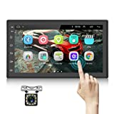 Podofo Double Din Android Car Stereo Radio with Bluetooth GPS 7 Inch HD Touchscreen in Dash Headunit FM Radio Receiver Support WiFi Dual USB Android iOS Mirror Link with Backup Camera
