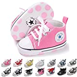 BENHERO Baby Girls Boys Canvas Shoes Toddler Infant First Walker Soft Sole High-Top Ankle Sneakers Newborn Crib Shoes (6-12 Months M US Infant) A-Pink