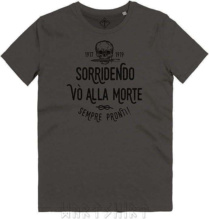 Maglietta reparti d`assalto sorridendo vò alla morte teschio con pugnale arditi t-shirt - wartshirt B07VGWMXZK