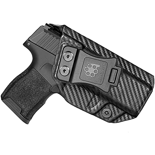 Amberide IWB KYDEX Holster Fit: Sig Sauer P365 / P365 SAS / P365X Pistol   Inside Waistband   Adjustable Cant   US KYDEX Made (Black Carbon Fiber, Right Hand Draw (IWB))