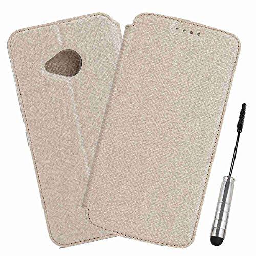 Ycloud Geschäft PU Leder Tasche für HTC U11 Life Wallet Flipcase mit Standfunktion Kartenfächer Entwurf Gold Leinen Stil Hülle