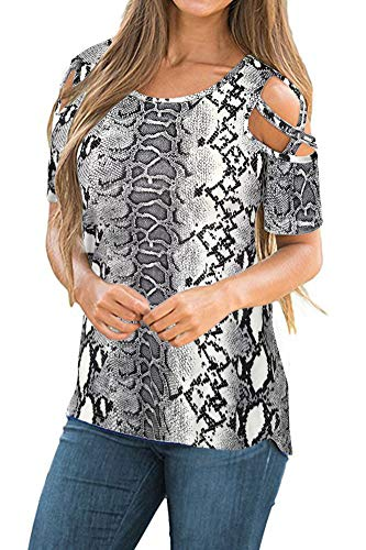 Women's Casual Short Sleeve Flora Print Loose Criss Cross Cold Shoulder Tops Basic T Shirts Blouses Snake Print XX-Large