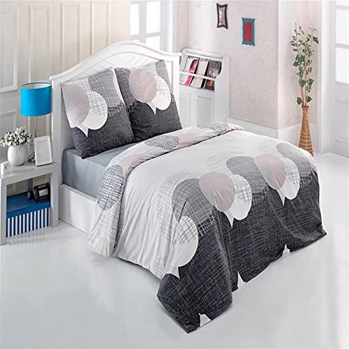 Bettwäsche 200x220 cm Baumwolle 3 Teilig Kissenbezüge 80x80 cm Reißverschluss Renforce Bettwäsche-Set Modern Kreise Muster Netz, Farbe Grau Anthrazit Weiß