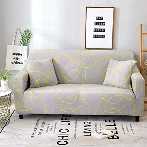 Estiramiento Funda de sofá 4 Plazas 1 Pieza Antideslizante Fundas Impresa para Sofas Sofás Cubre Sofá Ajustable Protector de Muebles 2 Fundas de Almohada Línea Amarilla Gris